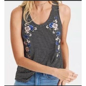 AEO soft sexy black stripe floral embroidered top